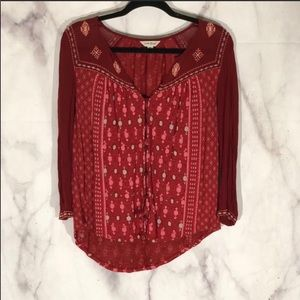 Lucky brand red and pink embroidered blouse sz. m